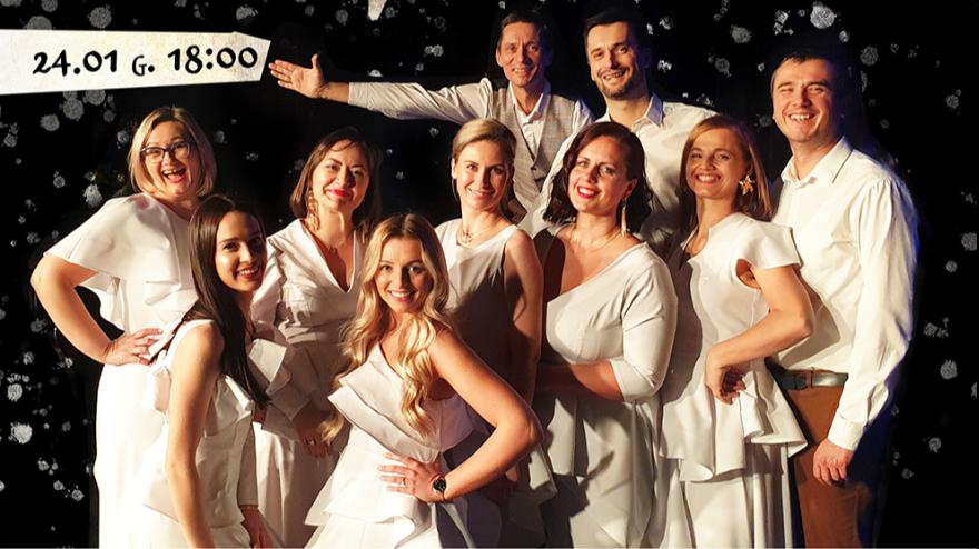 zdjęcie zespołu w białych strojach na czarnym tle,  nad nimi gwiazda z tytułem koncertu