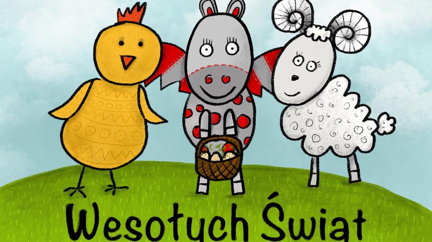 Kolorowe rysunki: kurka, kulturek i owieczka trzymające w ręku koszyczek