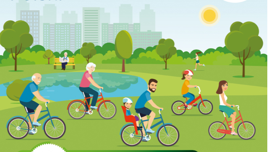 """Plakat przedstawia postaci jadące na rowerach, logotypy sponsorów akcji """"Rowerowa Stolica Polski"""", informacje zawarte w tekście"""